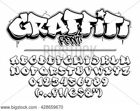 Graffiti Vector Font. Capital Letters, Numbers And Glyps Alphabet. Isolated Black Outline.