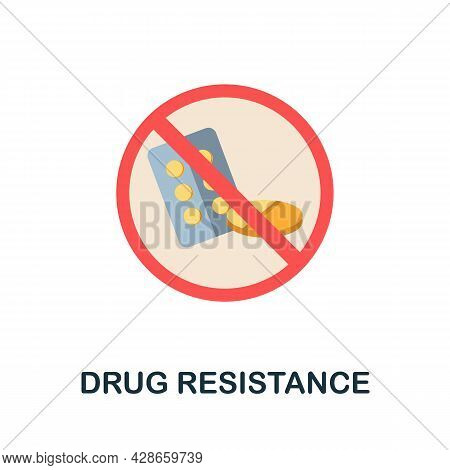 Drug Resistance Flat Icon. Colored Sign From Antibiotic Resistance Collection. Creative Drug Resista