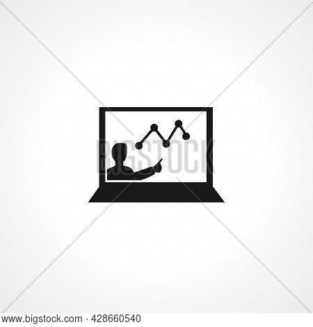 Tutorial On Laptop Screen Icon. Tutorial On Laptop Screen Simple Vector Icon. Tutorial On Laptop Scr