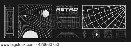 Set Of Retrofuturistic Design Elements, Perspective Grids, Tunnel, Retro Title, Polar Grid, Blackhol