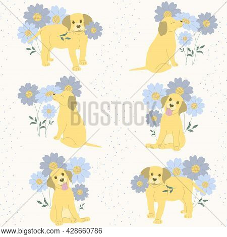 Seamless Pattern Labrador Puppies In Different Poses On A Light Background Of Flowers And Blue Dots.