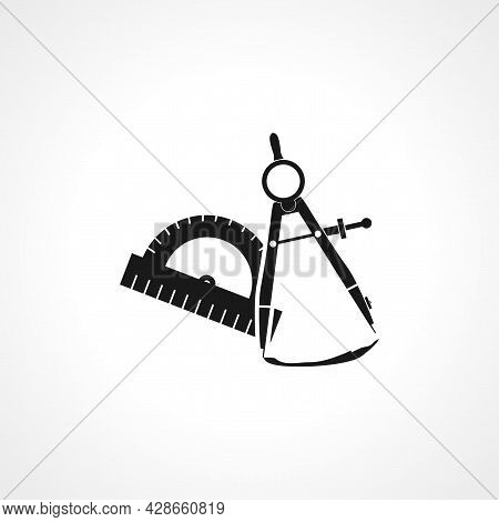 Geometry Compass With Protractor Icon. Geometry Compass Simple Vector Icon. Geometry Compass Isolate