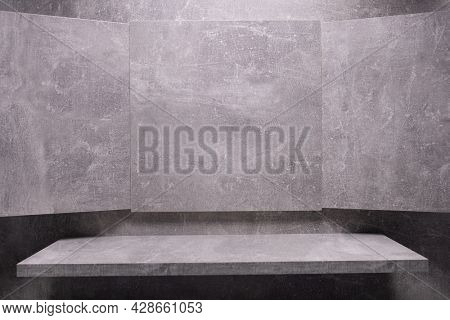 Abstract grey background texture and shelf at wall. Picture frame at gray wall background surface