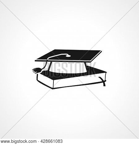 Graduation Cap On A Book Icon. Education Simple Vector Icon. Education Isolated Icon.