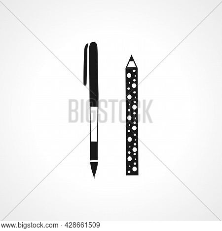 Pencil And Pen Icon. Pencil And Pen Simple Vector Icon. Pencil And Pen Isolated Icon.