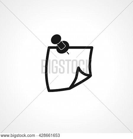 Paper Push Pin Icon. Paper Push Pin Simple Vector Icon. Paper Push Pin Isolated Icon.