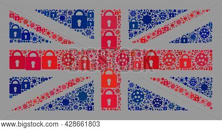 Mosaic Covid Lockdown Great Britain Flag Designed Of Locks And Infection Items. Vector Collage Strai