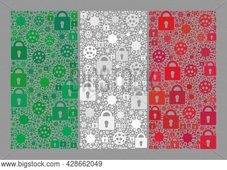 Mosaic Covid Lockdown Italy Flag Constructed Of Locks And Covid Items. Vector Mosaic Rectangle Italy