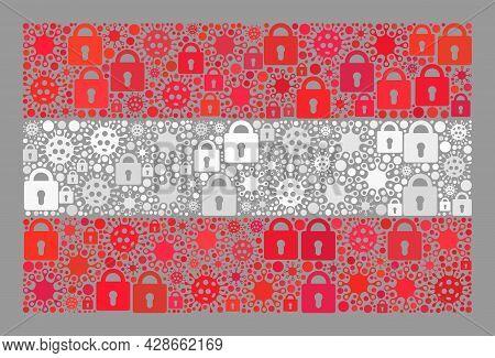 Mosaic Covid Lockdown Austria Flag Designed Of Locks And Viral Icons. Vector Collage Rectangular Aus