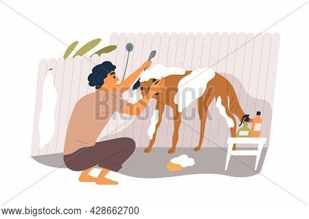Pet Owner Washing Dog With Soap And Shampoo, Cleaning Hairs. Person Grooming His Doggy. Canine Anima