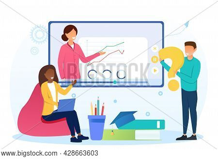 Young Male And Female Characters Are Studying Online Remotely From Home. Concept Of Online Course, L