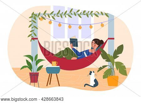 Young Female Character Is Rrelaxing In Hammock On The Terrace With A Book. Girl Is Reading A Book On