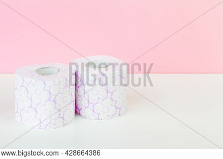 Roll Of Toilet Paper Or Tissue On Color Background