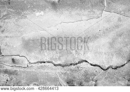 White Concrete Wall Crack For Interiors Or Outdoor Exposed Surface Polished Concrete. Cement Have Sa