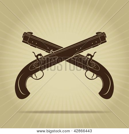 Vintage Crossed Percussion Pistols Silhouettes