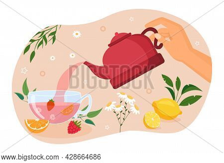 Hand Holding Red Teapot And Pouring Fresh Tea Into Cup. Concept Of Afternoon Tea Ceremony Elements T