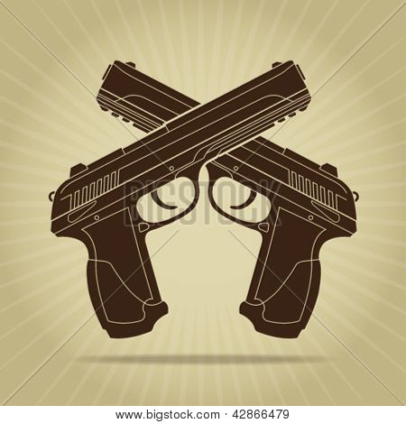 Retro Styled Crossed Pistols Silhouette