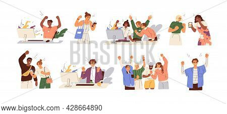 Set Of Happy Lucky People Celebrating Success And Victory. Concept Of Win, Achievement And Luck. Win