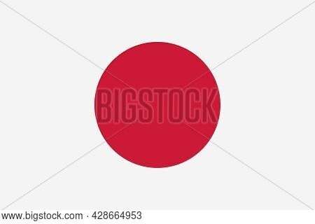 National Flag Of Japan. Rectangular White Banner With A Crimson Red Circle In The Center. Nisshoki,