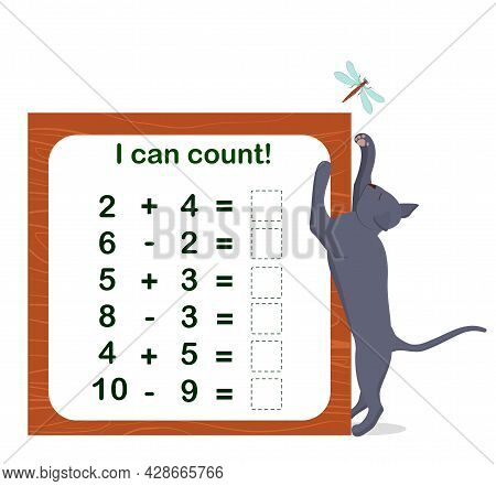 Vector Illustration Of A Children's Math Game On The Topic I Can Count. Mathematical Examples For Ad
