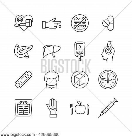 Diabetes Prevention And Treatment  Line Icon Set.  Symbol Of Diet, Weight Control, Obesity, Liver, P