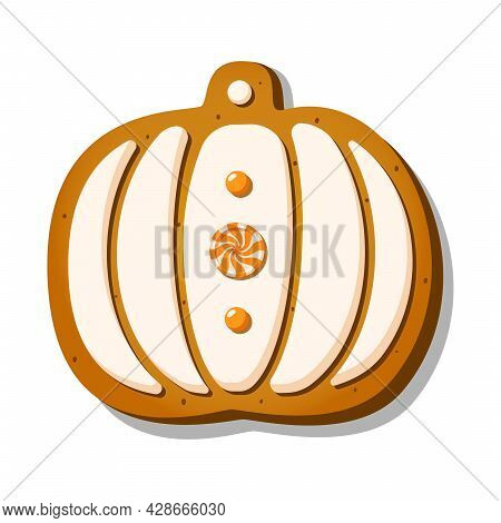 Halloween Gingerbread Cookies In The Shape Of Cute Pumpkin With Icing An Candy Isolated On White Bac