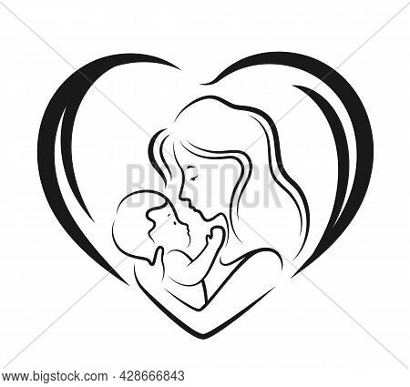 Mom Hug And Hold Baby In Heart Sign With Abstract Drawing Line Style Vector Design