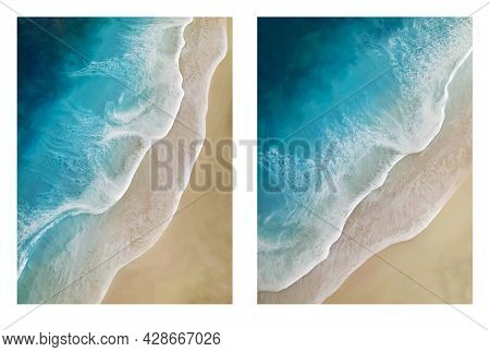 Seascape Resin Painting. Diagonal View On Sea Waves