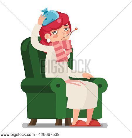 Sick Ill Female Week Sit Armchair Cold Virus Flu Disease Illness Cartoon Character Design Vector Ill