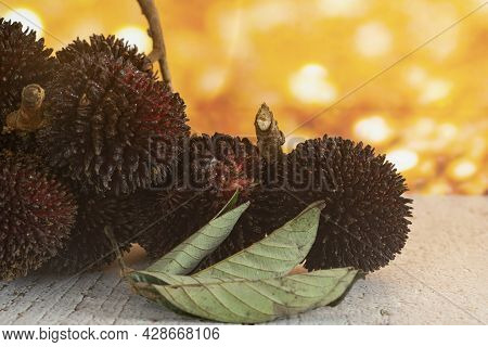 A Bunch Of The Local Fruits Called Pulasan. Pulasan Is A Tropical Fruit From Soapberry Family, Simil