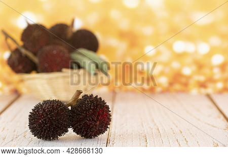 A Couple Of The Local Fruits Called Pulasan, A Tropical Fruit From Soapberry Family, Similar To Ramb