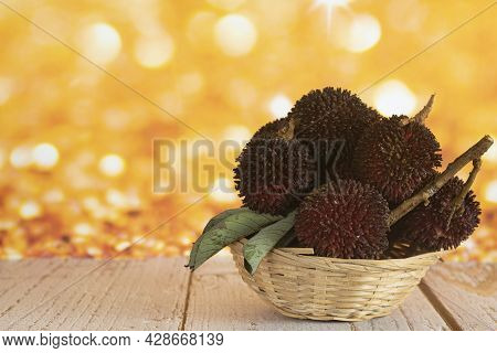 A Basket Full Of The Pulasan, A Tropical Fruit From Soapberry Family, Similar To Rambutan. Selective