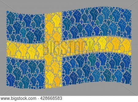 Mosaic Waving Sweden Flag Created Of Fighter Palm Items. Riot Hand Vector Collage Waving Sweden Flag