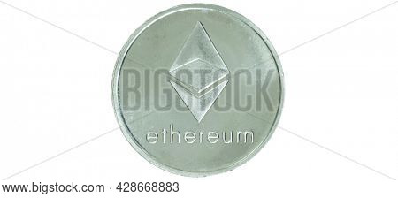 Ethereum cryptocurrency isolated on white background - photo of Ethereum crypto currency physical silver coin. Symbol icon of the crypto coin