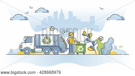 Waste Management As Garbage Collection And Clean Recycling Truck Outline Concept. Urban Trash Utilit