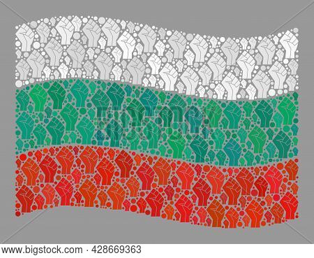 Mosaic Waving Bulgaria Flag Constructed Of Protest Icons. Protest Hand Vector Collage Waving Bulgari