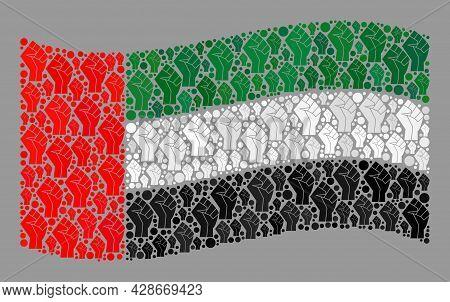 Mosaic Waving United Arab Emirates Flag Designed Of Riot Hand Items. Solidarity Hand Vector Mosaic W