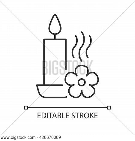 Scented Candle Linear Manual Label Icon. Fragrant Oils, Wax Mixture. Thin Line Customizable Illustra