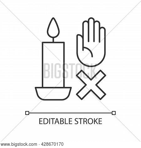 Never Touch Burning Candle Linear Manual Label Icon. Safety Measures. Thin Line Customizable Illustr