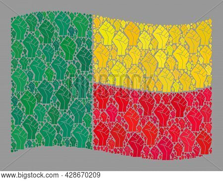 Mosaic Waving Benin Flag Constructed With Riot Hand Elements. Fight Hand Vector Mosaic Windy Benin F