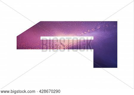 Decorative Numeral 4 With Abstract Hand-painted Alcohol Ink Texture. Galaxy Texture. Isolated On Whi