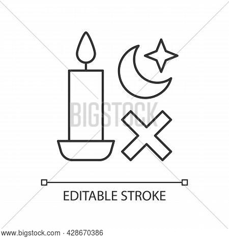 Never Use Candle While Sleeping Linear Manual Label Icon. Thin Line Customizable Illustration. Conto