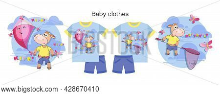 Baby Clothes. Cute Calf. Emblems With Pink Kite, Butterfly Net. Set. Little Bull Holding Kite, Net.