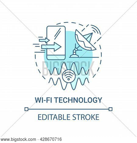 Wi-fi Technology Blue Concept Icon. Local Area Network Abstract Idea Thin Line Illustration. Network