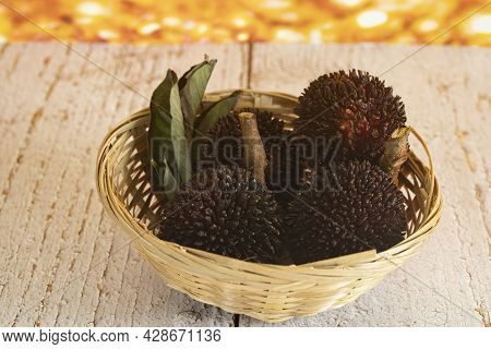 A Small Basket Of The Local Fruits Called Pulasan, A Tropical Fruit From Soapberry Family, Similar T
