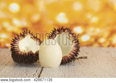 Local Fruits Called Pulasan That Has Been Opened And The Fruit Inside Taken Out. Pulasan Is A Tropic