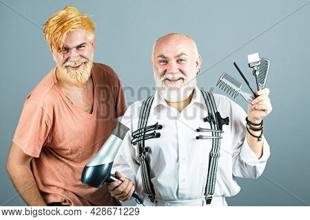 Hair Equipment. Barber With Scissors And Razor, Barbershop. Beard Man, Bearded Male. Portrait Beard