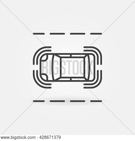Driverless Car On The Road Vector Thin Line Concept Icon