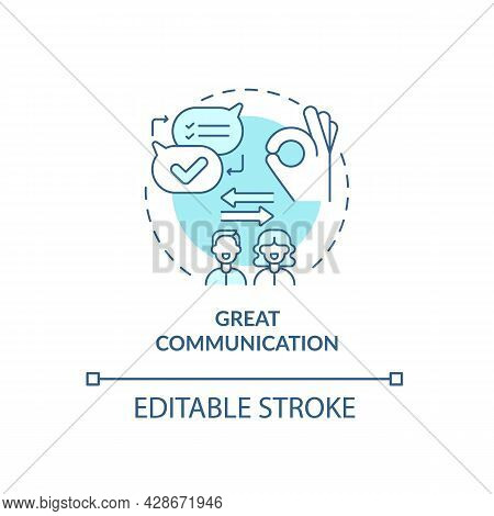 Great Communication In Mature Relationship Concept Icon. Togetherness And Absolute Unerstanding Abst