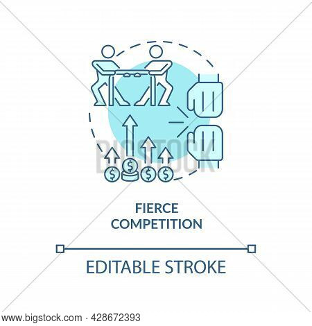 Fierce Competition Blue Concept Icon. Market Rivalry Between Businesses. Startup Launch Challenges A